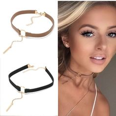Leather Choker Necklace-Gold Plated Geometry With Round Pendant