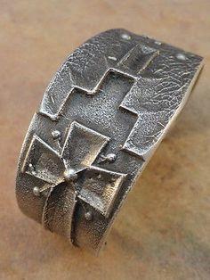 Old Style Navajo Sterling Silver Tufa Cast Cuff Bracelet