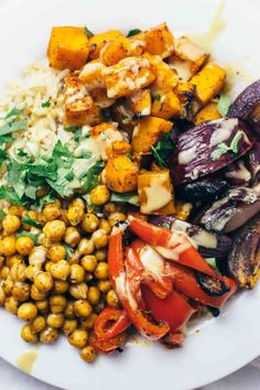 Check Out These 21 Hearty Nourishing Bowls With No Meat Or Dairy. Harissa Veggie Bowl Roast your favorite veggies such as butternut squash, onions,. Vegetable Recipes, Vegetarian Recipes, Healthy Recipes, Vegan Vegetarian, Free Recipes, Whole Food Recipes, Cooking Recipes, Cleaning Recipes, Cooking Tips