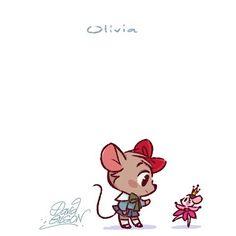 Chibies of Disney's Olivia and Dancing Doll. Facebook.com/artofdavidgilson/ http://davidgilson.tumblr.com/ #TheGreatMouseDetective #basildetectiveprive #OliviaFlaversham #Disney #fanart #davidgilson