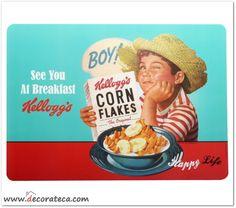 """Manteles individuales Kellogg's """"Boy"""". Decoración retro vintage cereales Kellogg's - WWW.DECORATECA.COM"""