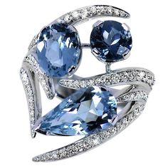 SHAUN LEANE Aurora white-gold, diamond and aquamarine ring White Gold Jewelry, White Gold Rings, White Gold Diamonds, Diamond Jewelry, Gemstone Jewelry, Gold Jewellery, Diamond Rings, Jewellery 2017, Aquamarine Gold Ring