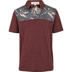 Boys red floral print yoke polo shirt - t-shirts / vests - boys
