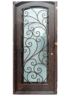 All of our doors are custom built to your exact dimensions. Please provide desired width and height for a free quote. Metal Panels, Glass Panels, Iron Front Door, Front Doors, Wrought Iron Doors, Door Design, Candle Sconces, Wall Lights, Door Ideas