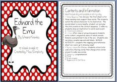 A book a week: Edward the Emu by Sheena KnowlesRead the book daily for a week and complete an activity a day - oh so simple!Activities Matchup/Sequencing Multiple Choice Writing Rhyming Words and Brain Stretches Cloze activity Word Beginning/Mid. English Reading, English Writing, Teaching Activities, Fun Learning, Teaching Ideas, Cloze Activity, Rhyming Words, Australian Animals, Emu