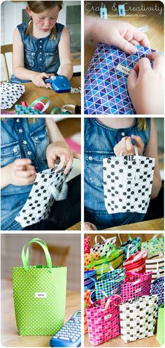 faire des petits sacs en papier... Pas mal pour occuper les petites mains lors d'un anniversaire et ça change des sacs en papier!