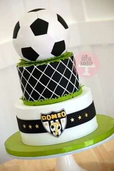 Soccer/football Cake I used Not Just Cakes by Annie's hexagon and pentagon cutters that fit SO perfectly on the Wilton ball. Soccer Ball Cake, Soccer Party, Soccer Cakes, Football Soccer, Soccer Theme, Cakes For Men, Just Cakes, Cupcakes, Cupcake Cakes