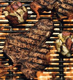 Triple-Pepper T-Bone Steaks  Brush thin slices of potato with olive oil, then grill them beside the steaks. Also serve a spinach and red onion salad with creamy ranch dressing.