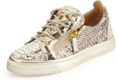 Giuseppe Zanotti London Snake-Print Low-Top Sneaker, Gold