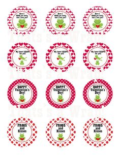 Frog Valentine Party Circles   Cupcake toppers
