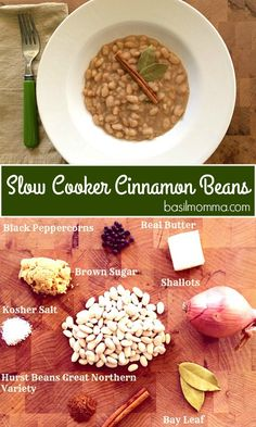 Slow cooked great northern beans from hurst, with just a touch of cinnamon goodness. this slow cooker beans meal has a meatless option. Slow Cooker Beans, Slow Cooker Recipes, Crockpot Meals, Freezer Meals, Bean Recipes, Diet Recipes, Healthy Recipes, Yummy Recipes, Gooseberry Patch Cookbooks