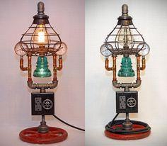 This is an impressive hand-made lamp. It combines elements of the Steampunk era with modern conveniences, like two high-power USB charging ports, two grounded tamper-resistant AC outlets, a fully dimmable main light, and an independently-switchable night light. You wont see