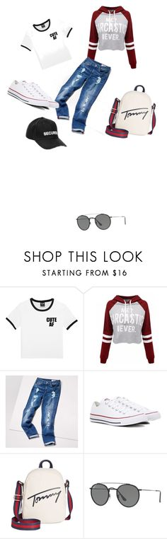 """""""sports"""" by rusmira-muharemovic ❤ liked on Polyvore featuring WithChic, Tommy Hilfiger, Converse, Ray-Ban and Vetements"""