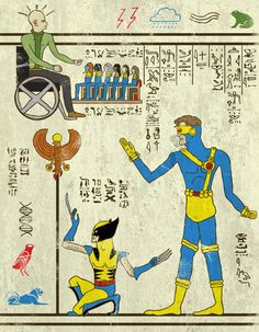 Self-confessed nerd Josh Lane did a series of illustrations reimagining iconic fictional heroes such as X-Men, The Avengers, and Teenage Mutant Ninja Turtles as hieroglyphics. What a genius. Geek Culture, Culture Pop, Power Rangers, X Men, Life In Ancient Egypt, Comic Art, Comic Books, Arte Ninja, Art Series