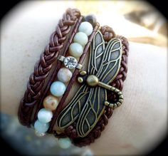 Leather wrap bracelet, nature inspired. Made by Dizzy Bees, found on Facebook. Currently for sale $55. (search Dizzy Bees on Facebook)