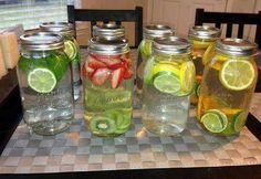 Craving for something refreshing? Skip the carbonated drinks and vitamin water.Try these instead! Infused waters. Here are their benefits to help with detoxification, energy and hydration. Put as much fruit in water as you like and let the water sit for at least 30 minutes before drinking. 1. Green Tea + Mint + Lime  Fat burning, digestion, headaches, congestion and breath freshener. 2. Strawberry+ Kiwi Cardiovascular health, immune system protection, blood sugar regulation, digestion. ...