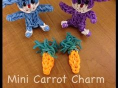 MINI CARROT Charm to add to your Easter Bunnies or to simply use as a Charm. Designed and loomed on the Rainbow Loom by Marlene Barressii. YouTube tutorial on the MarloomZ Creations channel. Also see the Easter Bunnies YouTube tutorial.