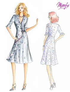 Pattern is for experienced sewers only so can only *sigh* for now Marfy Patterns, Vogue Patterns, Dress Patterns, Mob Dresses, Short Dresses, Dresses For Work, Fashion Design Drawings, Fashion Sketches, Dress Illustration