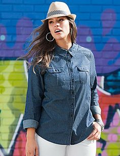 With a rich, dark wash and pin dot print, our denim shirt is one you'll love all season! #LaneBryant