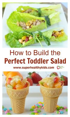 How To Build the Perfect Toddler Salad. Salads do not have to be served in a bowl! We like to think outside the box! http://www.superhealthykids.com/how-to-build-the-perfect-toddler-salad/