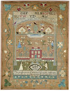 Content Hunt - possibly Warren, Rhode Island - 1799. Aged 9. Silk on linen.Betty Ring collection. Sold for 28,125 USD