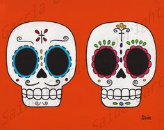 Day of the Dead Couple Boyfriend and Girlfriend Original by saide, $9.99  www.saide.etsy.com
