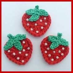 3 Strawberry crochet appliques. Would be cute attached to hair pin @Stephanie Close Johnson