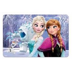 Frozen 3D placemat type 2. 3D placemat met een afbeelding van Anna, Elsa en Olaf uit de bekende Disney film Frozen heeft een formaat van ongeveer 43 x 30 cm.