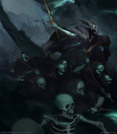 """Keldrek The Knight of Shrouds Malign Portents by Igor Sid """"Series of Champion's Full page portraits for the WH:AoS Malign Portents Event. Warhammer Art, Warhammer Fantasy, Memento Mori, Vampires, Angel Demon, Age Of Sigmar, Arte Obscura, Fantasy Setting, Gothic Horror"""