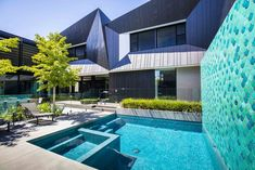 Bayside - Ian Barker Gardens Bluestone Paving, Landscape Design, Garden Design, Fish Scale Tile, Outdoor Living, Outdoor Decor, House Extensions, Pool Designs, Garden Projects