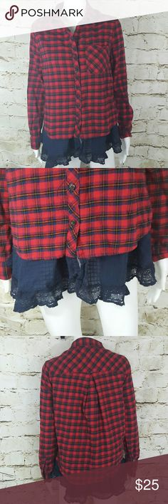 """Urban Outfitters BDG flannel w/ eyelet lace bottom This top is so cute!  Pair with leggings and booties.  Excellent condition 19"""" across from armpit to armpit and 28"""" long from shoulder to hem Urban Outfitters Tops Tunics"""