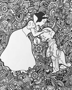 Each piece is one of a kind, drawn by me, with nothing but sharpie on thick, white paper. Though this is a simple media, the pieces come out extremely unique with a floral design that surrounds your choice of a center piece or icon. Message me if you would like a different Disney Icon for your piece.