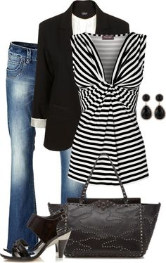 Top with front knot  and jacket (Striped black & white)