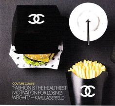 Chanel Takeover Mcdonalds as Fashion Capitol of the WORLD. Coco Chanel Burger and Fries. I want all my fast food meals to have this packaging lolCoco Chanel Burger and Fries. I want all my fast food meals to have this packaging lol Karl Lagerfeld, Fast Food Logos, Logo Food, Burger Bar, Burgers, Burger Menu, Chanel Couture, Mcdonalds, Famous Fashion Quotes