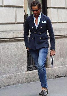 luxure street fashion french riviera | ダブルブレスト×ジーンズの着こなし