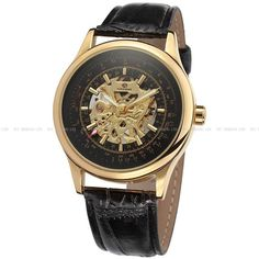 Forsining 43Mm Gents  Leather Hollow Business Mechanical Hand-Winding Watch 708