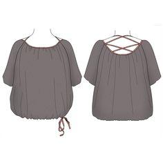 <b>Modèle femme</b>Blouse ample et froncée. Le col, bordé de biais, s'anime par un laçage dans le dos. Le bas se resserre à l'aide d'un biais à nouer.<b>Tailles :</b> 34-36-38-40-42-44-46-48* Tour de poitrine de 80cm à 108cm<b>Difficulté: </b> niveau intermédiaire<b>Conseil tissu: </b> souple type batiste, twill, crêpe, viscose, jersey fin,...Ici: batiste viscose<b>PATRON A TÉLÉCHARGER
