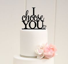 I Choose You Wedding Cake Topper Custom Cake by ThePinkOwlDesigns