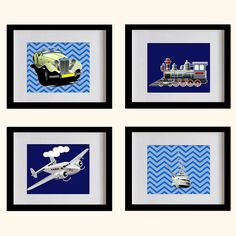 Nursery Art Print Transportations  Blue and by MadeForYouPrints, $42.95