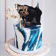22nd Birthday Cakes, Birthday Cake For Him, Elegant Birthday Cakes, Beautiful Birthday Cakes, 22 Birthday, Marbel Cake, Cake Design For Men, Fondant Cake Designs, 21st Cake