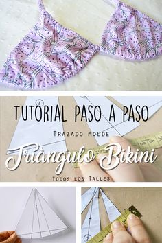 Tutorial molde Triángulo Bikini. Aprende a hacer el molde del Triangulo Bikini en cualquier talle con este tutorial fàcil y en 6 pasos! Swimsuit Pattern, Bra Pattern, Diy Clothing, Sewing Clothes, Lingerie Patterns, Clubbing Outfits, Diy Dress, Sewing Tutorials, Pattern Fashion