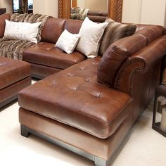 ♥ ♥ Corsario Leather Sectional with Right Facing Chaise and Ottoman ♥ ♥ - Discovered at www.dcgstores.com...