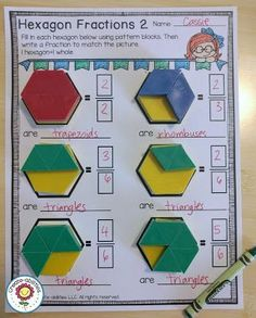 Pin The students are introduced fractions and shape attributes by using this Hexagon Fractions worksheet. 3rd Grade Fractions, Teaching Fractions, Fourth Grade Math, Second Grade Math, Math Fractions, Equivalent Fractions, Dividing Fractions, Grade 2, Fractions Worksheets Grade 5
