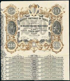 Banque Cantonale du Valais. Aktie Fr.250. Sion, 30.6.1859