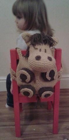 Horse Kid's Backpack Bag Amigurumi Pyjama door PeachUnicornCrochet