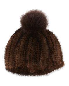 Adrienne Landau | Knit Mink Hat with Fox Pom Pom #adriennelandau #knitmink #hat #foxpompom