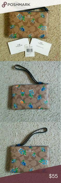 NWT Coach Floral Wristlet Wallet New with tags! Super cute for spring and summer! Coach Accessories