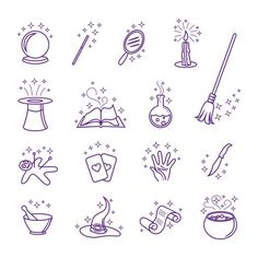Buy Vector Magic Icons In Line Style by on GraphicRiver. Vector magic icons in line style set. Hat and wand, magician and circus, magical card illustration Simbolos Tattoo, Doodle Tattoo, Doodle Art, Dark Tattoo, Stick N Poke Tattoo, Stick And Poke, Machine Silhouette Portrait, Magic Doodle, Magic Drawing