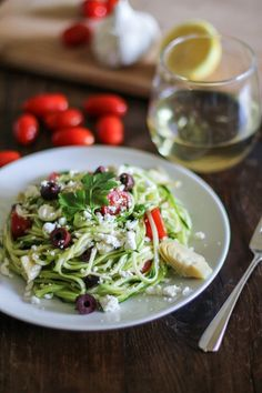 Mediterranean Zoodles - a quick and easy dinner that can be whipped up in 30 minutes   TheRoastedRoot.net #healthy #glutenfree #recipe