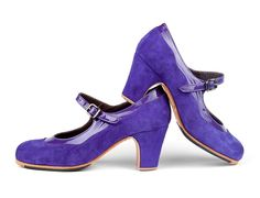 #Flamenco #dance #shoes Farruca. A25 Purple suede | C25 Purple patent leather | Roper low 55 mm covered heel, #handmade to measure by #ArteFyL